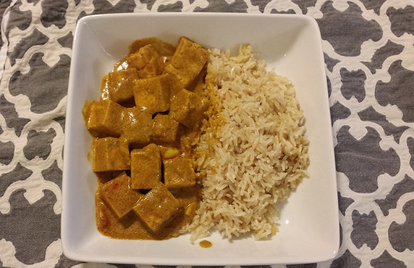 Callaghan's 7-spice Masala tofu with brown Basmati rice