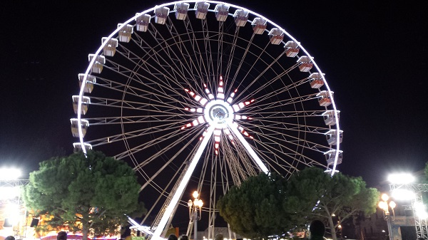 The Ferris wheel all lit up.