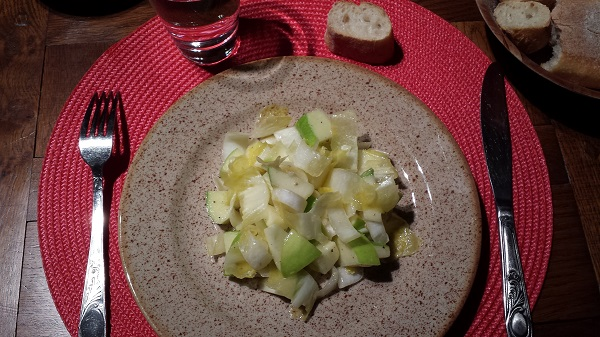 Salad at Callaghan's Dad's house (endive and green apple with a homemade mustard vinaigrette)