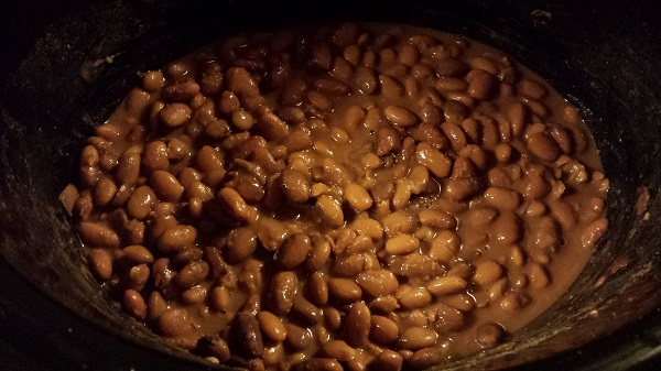 Pinto beans in the slow cooker.