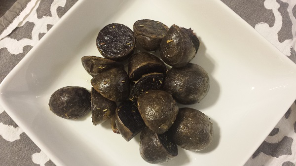 Roasted purple potatoes.