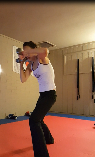 Hooks with dumbbells (great shoulder work!)
