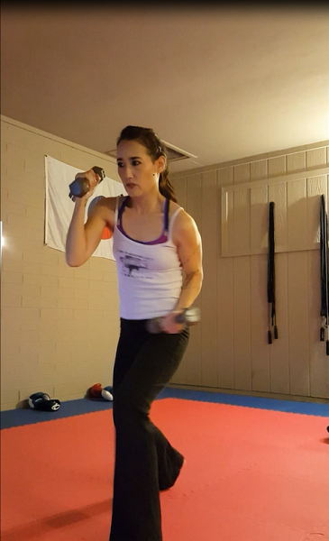Shadow-boxing with weights.
