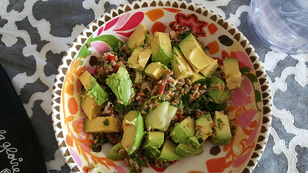 Post-workout food: Freshly made tabbouleh salad with avocado.
