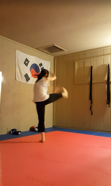 Stomp attack with downward block (prep)