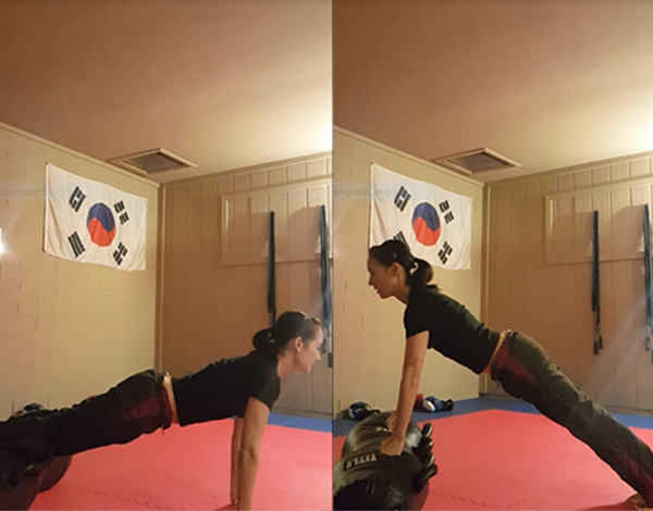 Decline push-ups on the left, incline push-ups on the right.