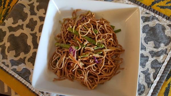 Cold soba noodle salad.