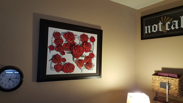 "Desk corner detail: Valentine's Roses 2014, original art by Callaghan ""not cal"" by Not Cal, California ex-pats in Arizona"