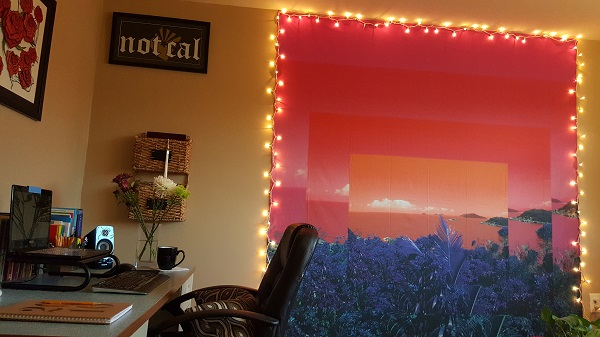 Sunset and twinkle lights in my office