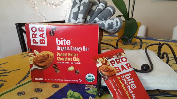 Pro Bar bite organic energy bar in peanut butter chocolate chip