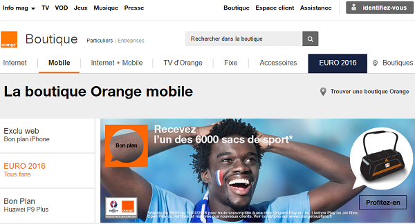 Orange, one of the major cell phone service providers in France
