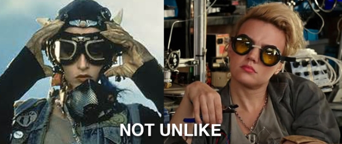 Becca in Tank Girl on the left. Dr. Jillian Holtzmann in Ghostbusters 2016 on the right. NOT UNLIKE.