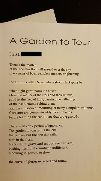 "[""A Garden to Tour"" Kristi (now Garboushian) cimarron review fall 1999]"
