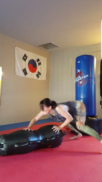 Lower body work on the MMA dummy