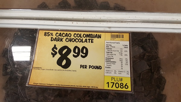 Colombian dark chocolate in the bulk bin at Sprouts