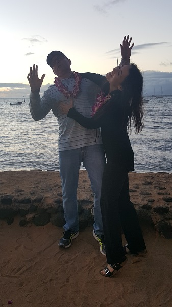 Goofing around while taking pics with family and friends at the luau.