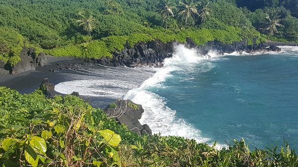 Stunning contrasts: sparkling blue-green water, white ocean spray, black sand, rain forest