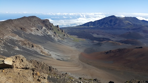 Looking down from the summit of the Haleakala volcano crater