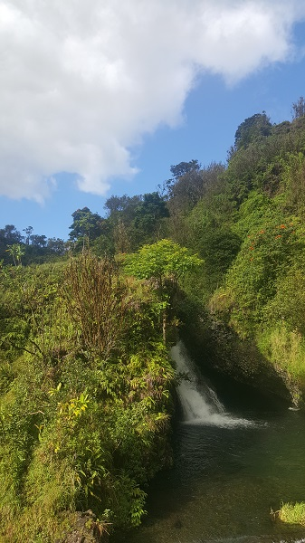 A waterfall seen from the road