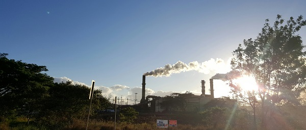 HC and S sugar cane factory. The steam is from the sugar cane being boiled down.