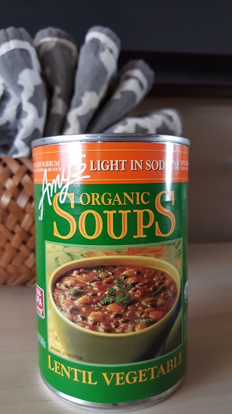Amy's organic lentil vegetable (light in sodium) soup